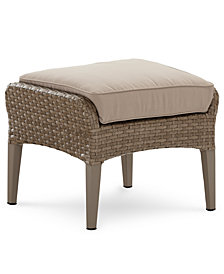 Silver Lake Indoor/Outdoor Flat Rattan Ottoman with Sunbrella® Cushions, Created for Macy's
