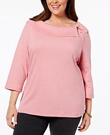 Karen Scott Plus Size Cotton Boat-Neck Top, Created for Macy's