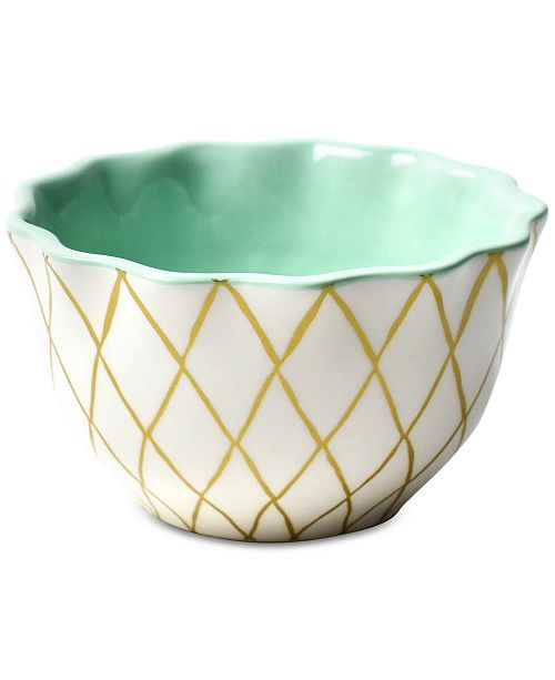 Coton Colors Emerald Collection Gold Diamond Ruffle Appetizer Bowl