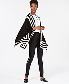 Charter Club Pure Cashmere Striped Open-Front Wrap Cardigan, Created for Macy's