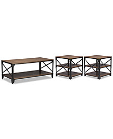 Emem 3-Pc. Table Set (One Coffee Table and 2 End Tables), Quick Ship