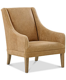 Norse Leather Accent Chair, Quick Ship