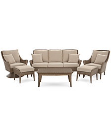 Silver Lake Indoor/Outdoor Flat Rattan 6-Pc. Seating Set (1 Sofa, 1 Club Chair, 1 Swivel Club Chair, 1 Coffee Table and 2 Ottomans) with Sunbrella® Cushions, Created for Macy's