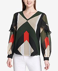 Calvin Klein Printed Flounce-Trim Blouse