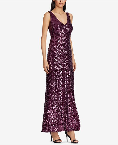 e3337786bfd Lauren Ralph Lauren Sequined V-Neck Gown   Reviews - Dresses ...