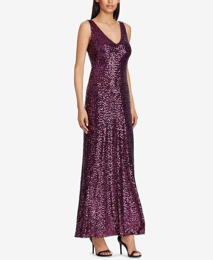 Lauren Ralph Lauren - Sequined V-Neck Gown