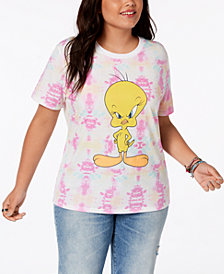 Hybrid Plus Size Tie-Dyed Tweety Bird T-Shirt