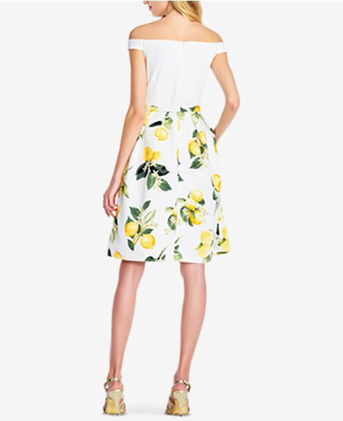 Multi Print Dress Adrianna The Yellow Shoulder Off Papell Lemon 1BHXq8
