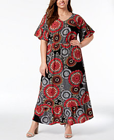 NY Collection Plus Size Printed Dolman-Sleeve Maxi Dress