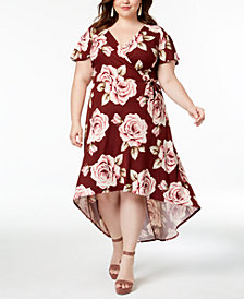 BCX Trendy Plus Size High-Low Faux-Wrap Dress