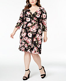 BCX Trendy Plus Size Printed Faux-Wrap Dress