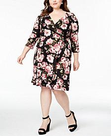 BCX Trendy Plus Size Printed Faux-Wrap Dress