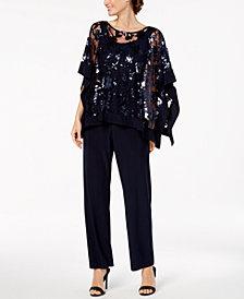 R & M Richards Sequin-Embellished Poncho & Pants
