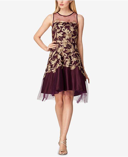 35faaed00205 Tahari ASL Metallic-Embroidered Mesh Fit & Flare Dress & Reviews ...