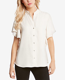 Karen Kane Ruffle-Sleeve Button-Up Blouse