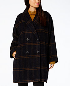 Eileen Fisher Plaid Alpaca Blend Shawl-Collar Coat
