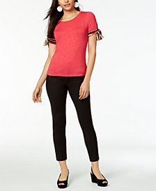Maison Jules Striped Tie-Sleeve Top & Skinny Pants, Created for Macy's