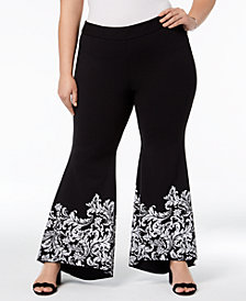 I.N.C. Plus Size Printed Tulip Hem Pants, Created for Macy's