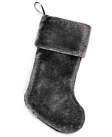 Holiday Lane Gray Faux Fur Stocking, Created for Macy's