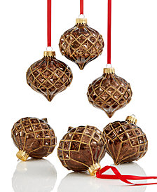 Holiday Lane 6-Pc. Bronze-Tone Diamond Onion Ornament Set, Created for Macy's