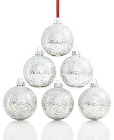 Holiday Lane Shatterproof Sequin Silver/Rose Gold Ball Ornaments, Set of 6, Created for Macy's