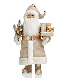 Holiday Lane Gold Tone Standing Santa with Gift, Created for Macy's