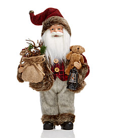Holiday Lane Standing Santa with Burlap Bag & Bear, Created for Macy's