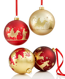 Holiday Lane 4-Pc. Pilgrimage-Patterned Ball Ornament Set