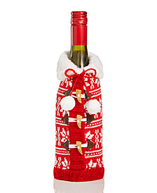 Holiday Lane Red Knit Snowflake Sweater Wine Cover, Created for Macy's