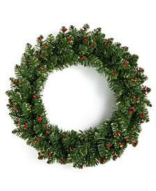 "Christmas Cheer 24""H Green Wreath with Red Berries and Dusting of Snow, Created for Macys"