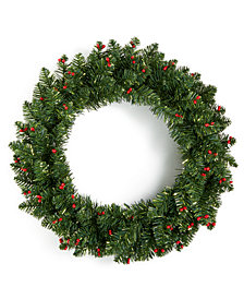 "Holiday Lane 24"" Wreath with Red Berries, Created for Macy's"
