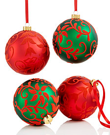 Holiday Lane Shatterproof Flock Leaves Pattern Ball Ornaments, Set of 4, Created for Macy's