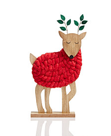 Holiday Lane Wool Deer Christmas Décor, Created for Macy's