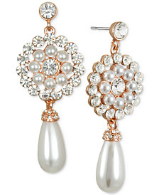 Jewel Badgley Mischka Crystal & Imitation Pearl Flower Drop Earrings