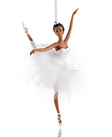 Holiday Lane Ballerina with White Faux Feather Tutu Ornament, Created for Macy's