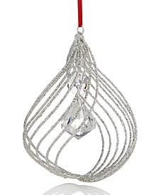 Crystal Elegance White Glitter Spiral with Hanging Bead Ornament Created For Macy's