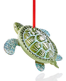 Holiday Lane Glass Turtle Ornament, Created for Macy's