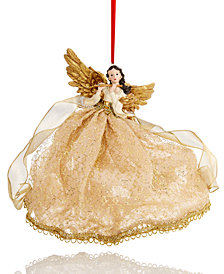 Holiday Lane Flying Angel Playing The Flute Ivory/Gold Hanging Christmas Tree Ornament, Created for Macy's