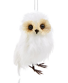 Holiday Lane White Feather Owl Ornament, Created for Macy's