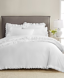 CLOSEOUT! Martha Stewart Collection Signature Ruffle Cotton 400-Thread Count 3-Pc. Duvet Sets, Created for Macy's