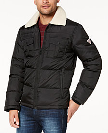 GUESS Men's Trucker Jacket with Fleece-Lined Sherpa Collar