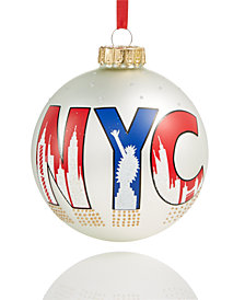 Holiday Lane White NYC Glass Ball Ornament, Created for Macy's