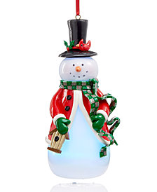 Holiday Lane Light-Up Snowman Holding Bird House Ornament, Created for Macy's