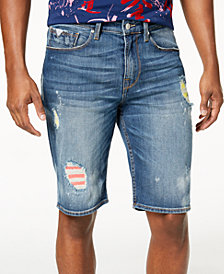 GUESS Men's Regular-Fit Destructed Denim Shorts