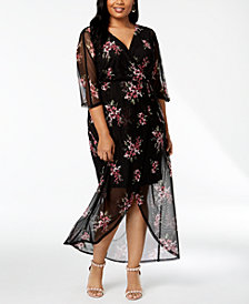 Connected Plus Size Floral Faux-Wrap Maxi Dress