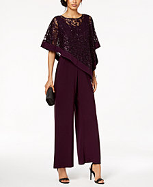 R & M Richards Embellished Capelet Jumpsuit