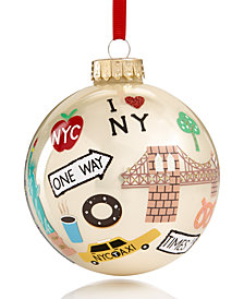 Holiday Lane Glass Ball with Multi Icons Pearl Champagne Ornament, Created for Macy's