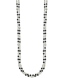 "I.N.C. Silver-Tone Bead & Imitation Pearl 60"" Strand Necklace, Created for Macy's"