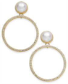 I.N.C. Large Gold-Tone Pavé & Imitation Pearl Drop Hoop Earrings, Created for Macy's