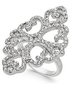 I.N.C. Silver-Tone Pavé Statement Ring, Created for Macy's